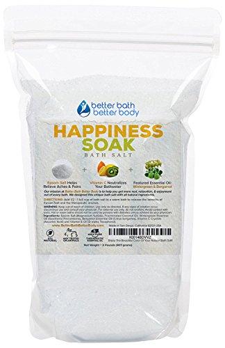 Happiness Bath Salt 32oz (2-Lbs) - Epsom Salt Bath Soak With Wintergreen & Bergamot Essential Oil & Vitamin C - Aromatherapy To Inspire Happy Feelings - All Natural No Perfumes No Dyes