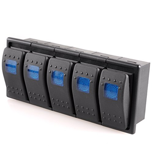 AutoEC 12V 16A On/Off Light Rocker Reset Switch For Carling Boat Car With Switch Panel (Pack Of 5 Blue)