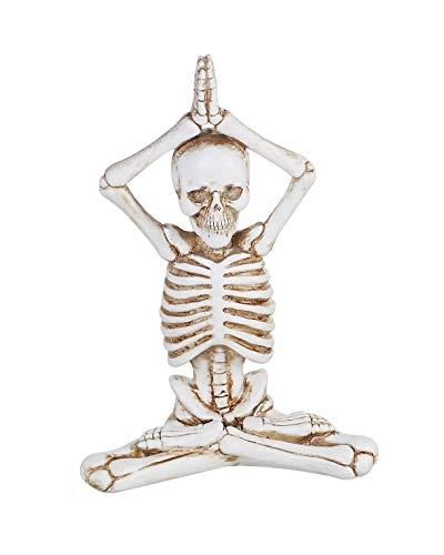 (Transpac Imports D0807 Resin Yoga Skeleton Figurine, White)