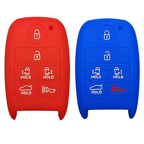 2Pcs Coolbestda 6buttons Key Fob Cover Skin Remote Case Keyless Entry Wallet for 2018 2017 2016 KIA SEDONA Red Blue