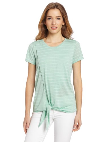 Two by Vince Camuto Women's Wrap Front Tee With Tie, New Mint, Medium