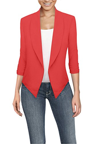 (Womens Casual Work Office Open Front Blazer JK1133X Coral)