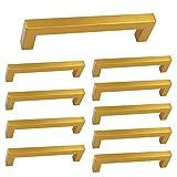 Square Wine Cabinet Pulls Brass Gold Stainless Steel - Homdiy HDJ12GD 5'' Center to Center Modern Closet Office Desk Kitchen Drawer Dresser Handles Bathroom Storage Cabinet Hardware Pulls 10 Pack