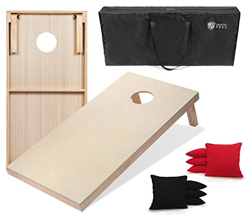 Tailgating Pros 4x2 Cornhole Boards w/Carrying Case & Set of 8 Cornhole Bags (You Pick Color) 25 Bag Colors! (Black/Red, 4x2 Boards)