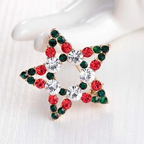 (Christmas Bows - 1 Pc Star Rhinestone Brooch Pins Fashion Wedding Jewelry - Ribbons Plastic Tree Tags Earrings Christmas Large Adhesive Small Wreaths Presents Bows Decoration Hair Girls Sto )