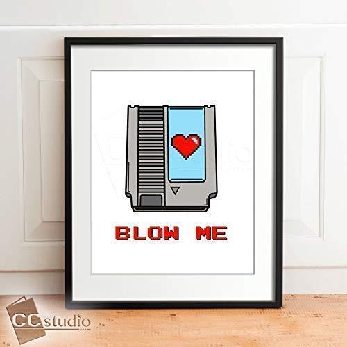 Amazon.com: Blow Me Print  Funny Video Game Decor  Gamer Room