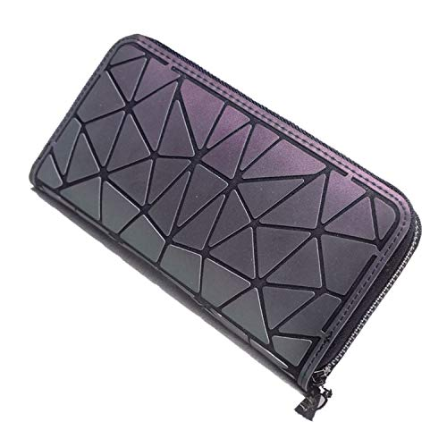 Fashion Gifts Women Long Wallet Luminous Geometric Lattice Standard Zipper Wallets Noctilucent Purse Wallet,2 ()