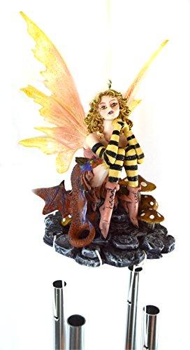 Cheap GARDEN BEE FAIRY DRAGON MUSHROOM WIND CHIME YARD ART MAGIC FANTASY TROPICAL POND