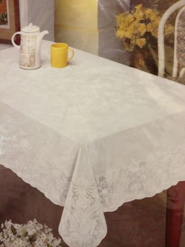 (The Pecan Man Tablecloth Rectangle 100% Vinyl Tablecloth For Parties Casual Events Luxury Lace Look Embossed White 60x90