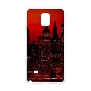 Vety New York Samsung Galaxy Note 4 Cases Red Sky at Night New York City, [White]