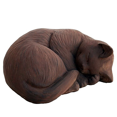 Cement Garden Sculpture - CAT Curled KITTEN Small STATUE 9.5