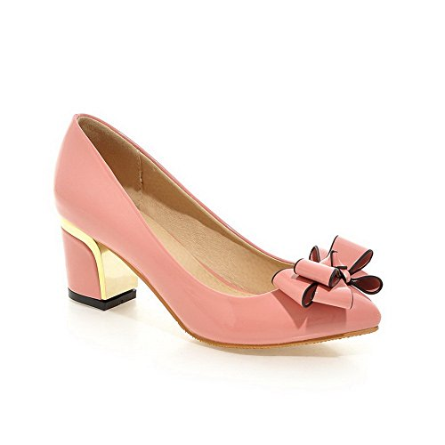 BalaMasa Womens Embroidered Chunky Heels Spun Gold Bowknot Pink Patent Leather Pumps-Shoes – 4.5 B(M) US