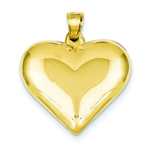 14K Gold Puffed Heart Charm Love Jewelry ()
