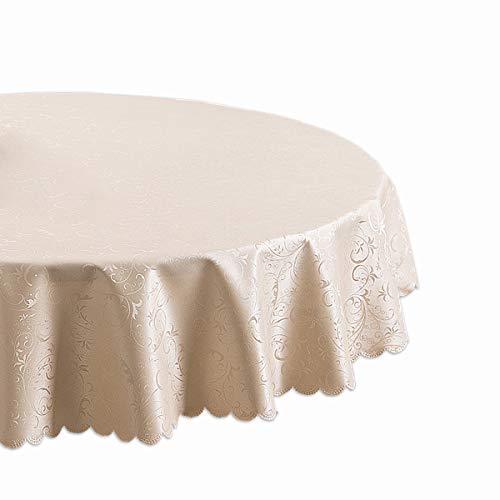 Tablecloths Stain Resistant Table Cloth for Circular Table Cover in Washable Jacquard Polyster Champaign ()