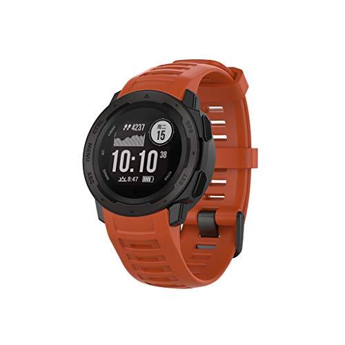 گروههای ساعت تماشای رنگی نرم و نرم Yukukai ، دسته بندهای تماشای رنگی سیلیکونی نرم برای Garmin Instinct ، تسمه قابل تنظیم جهانی برای مردان Garmin Instinct SmartWatch (قرمز)