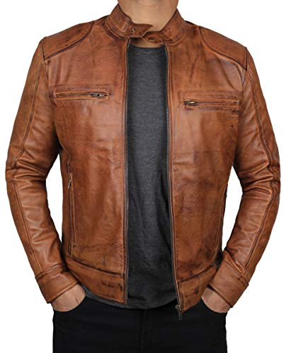 (Blingsoul Mens Leather Jacket | [1100491] Dodge Tan, XS)