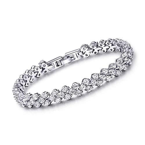 - SHB Tennis Bracelet with Swarovski Elements Jewelry AAA Cubic Zirconia 18K Platinum Plated Crystal Lady Women CZ Tennis Bracelets Bangle Wedding Gift