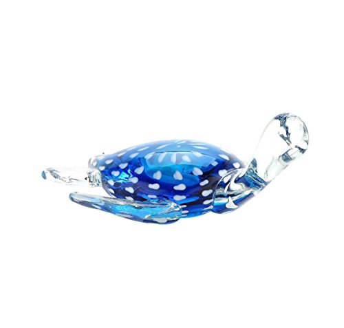 "New 14"" Hand Blown Glass Murano Art Style Turtle Sculpture Figurine Statue Blue"