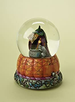 Jim Shore Halloween Brewing Up Trouble-Witch With Cat Musical Waterball Figurine
