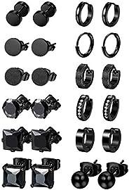 Jstyle 12 Pairs Stainless Steel CZ Stud Earrings for Women Mens Huggie Hoop Earrings