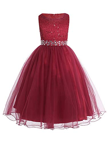 CHICTRY Sequined Lace Bodice Shining Crystal Waist Flower Party Summer Evening Prom Pageant Dress Burgundy 6