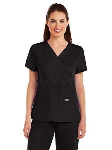 Pocket Scrub Top (Grey's Anatomy  Women's Junior Fit 3 Pocket Mock Wrap Scrub Top, Black, Medium)