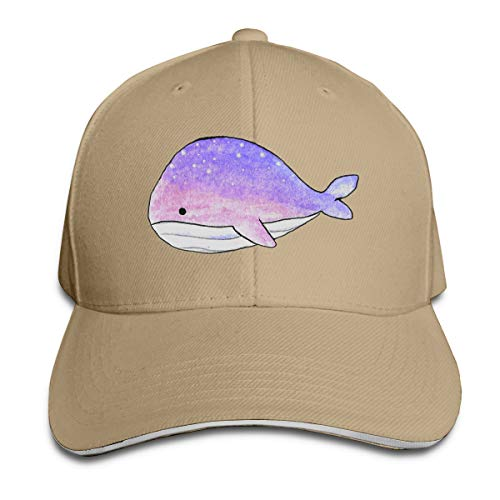 ONE-HEARTHR Adult Space Whale Cotton Lightweight Adjustable Peaked Baseball Cap Sandwich Hat Men Women
