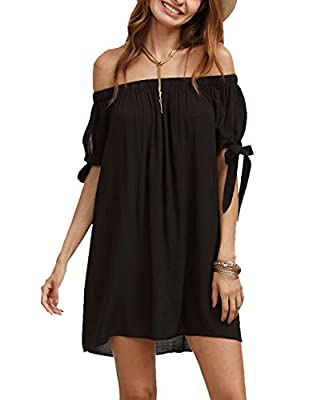 SheIn Women's Off The Shoulder Tie Cuff Shift Dress