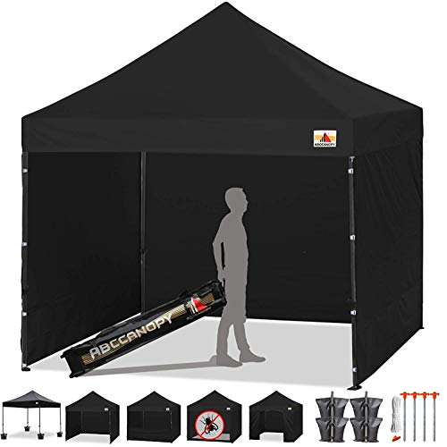 - ABCCANOPY Tents Canopy Tent 10 x 10 Pop Up Canopies Commercial Tents Market stall with 4 Removable Sidewalls and Roller Bag Bonus 4 Weight Bags and 10ft Screen Netting and Half Wall,Black