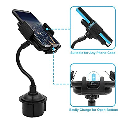 Car Cup Holder Phone Mount Portable Adjustable Gooseneck Phone Holder for Car Compatible with iPhone11/Pro/Xs/Max/X/XR/8/8 Plus,Samsung Note10/S10/S9/S8 by TDTOK