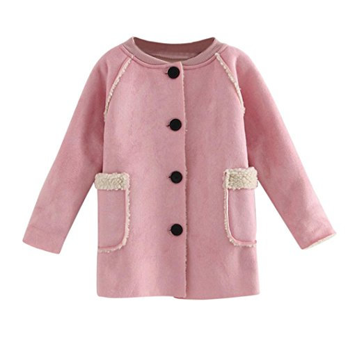 Vovotrade Infant Toddler Baby Girls Single-Breasted Jacket Windbreaker Warm Winter Tops Casual Trench Coat with Pockets (18M, (Pocket Trench)
