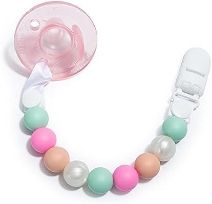 Clip Pacificador de Dientes, Paquete de 2 Diseño de Perlas de Rosa Para Niñas, Sujetador de Silicona Para Chupete, Juguete Para Dientes y Correa de ...