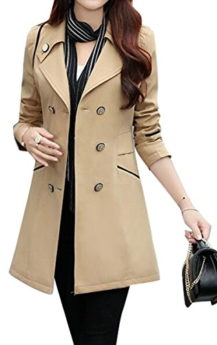 Fensajomon Womens Lapel Long Sleeve Double-Breasted Classic Trench Coat Overcoat 2 - Womens Coat Floral Trench