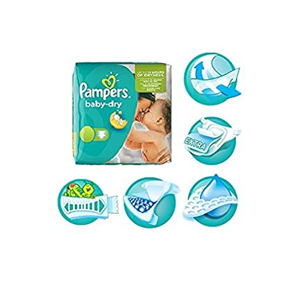 PAMPERS Pañales Pañales bajo Juego monats Caja transporte Pack New Baby Active Fit Baby Dry VERS