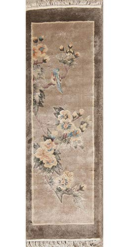 - Silk Art Deco Oriental Chinese Traditional Handmade Green Oriental Area Rug 1x3 feet