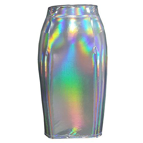 Pinda Rave Iridescent Holographic High Waisted Pencil Skirt (S, 397Silver) - Rave Outfits Cheap