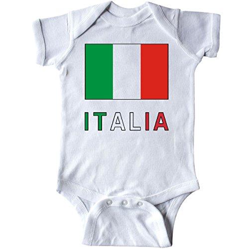 inktastic - Italy Flag & Italia - Black Border Infant Creeper Newborn White fbd2 ()