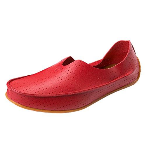 Moda Hombre Barco Dooxi Mocasines Rojo1 Casual Cómodos Planos Zapatos Loafer Sintético Zapatos Negocio Cuero de 0OdRwq