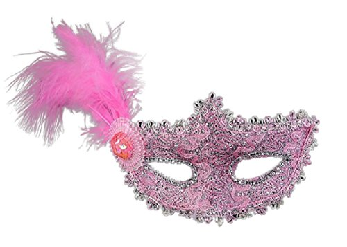 YABINA Sheer Lace and Floral Mardi Gras Masquerade Costume Mask With Feathers (Pink) (Red Eye Mask)