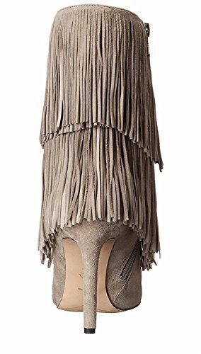 Suede GAIHU otoño mujeres Negro Marrón alto Borla primavera señoras de talón zapatos cortas tobillo invierno Beige botas Stiletto punta rrSwxgPq