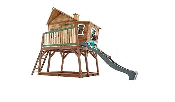 Beauty.Scouts - Casa de juegos de madera con porche, tobogán, escalera y caja de arena, 193 x 432 x 288 cm, madera de cedro, color marrón: Amazon.es: Jardín