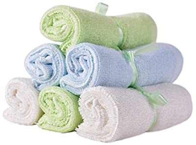 """ELZU.US Baby Organic Bamboo Washcloths (Set of 6 towels), Luxury, Natural, Extra Soft 
