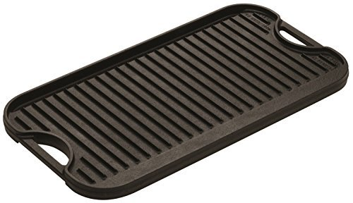 Lodge Cast-Iron Reversible Grill/Griddle, 20-Inch x 10.44-Inch, Black, 2-Pack