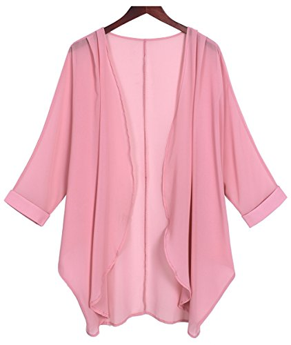 Tribear Women's Sheer Chiffon Kimono Cardigan Solid Casual Capes Beach Cover up (Medium, Pink)