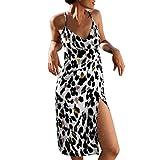FEDULK Womens Leopard Print Mini Dress Sleeveless V Neck Holiday Casual Beachwear Sleepwear Evening Dress(White, X-Large)