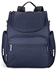 Insular Waterproof Mummy Backpack Portable Diaper Bag for Mom Outdoor Travel Navy Blue
