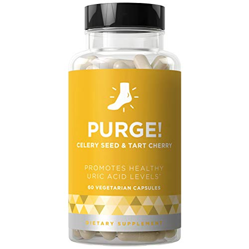 Purge! Uric Acid Cleanse & Joint Support - Ready to Eat & Drink What You Want? - Active Mobility, Strong Flexibility, Healthy Inflammation - Tart Cherry & Celery Seed - 60 Vegetarian Soft Capsules