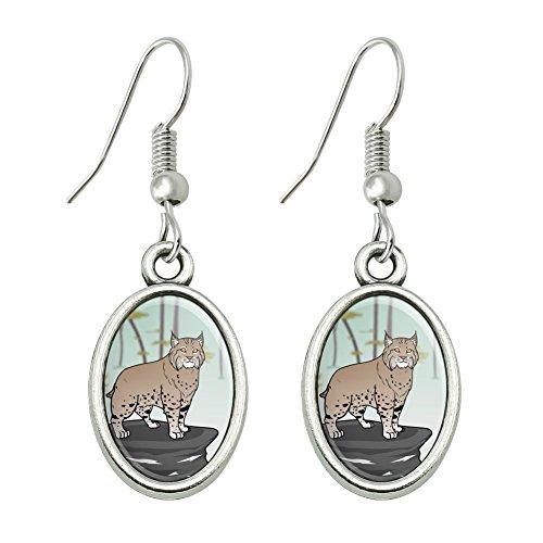 (GRAPHICS & MORE Bobcat Lynx Cat Novelty Dangling Drop Oval Charm Earrings)