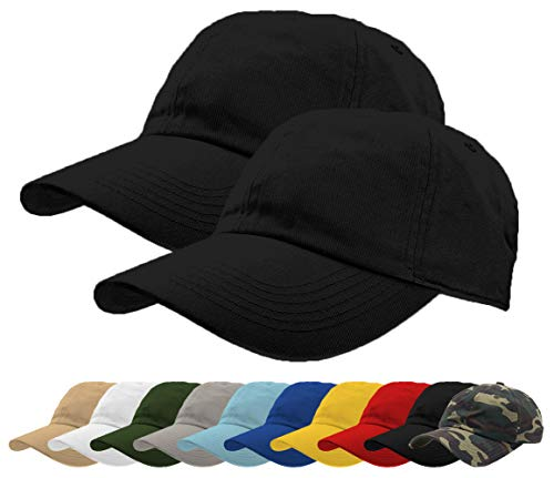 TrueM Clothing Set of 2 Classic 100% Washed Cotton Plain Baseball Caps Dad Hats Polo Style Adjustable Size Unstructured Soft (Black)