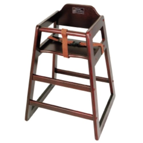 Winco CHH-103 Unassembled Wooden High Chair, Mahogany, Set of 3